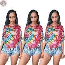 9053103 queenmoen Wholesale women summer colorful tie-dye irregular tassel hem t-shirt