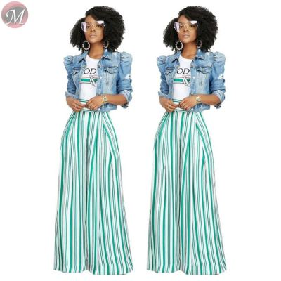 9053108 queenmoen Women hot sale striped high waist long wide leg pants