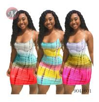 9041601 Women summer printed suspender mini dress