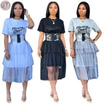 9053124 queenmoen Summer hot wholesale women letter sleeves mesh patchwork dress without sashes