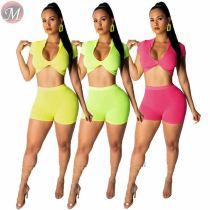 9052511 queenmoen women stylish summer crop top and shorts two piece knitted suit