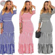 9052529 queenmoen Summer women casual striped patchwork dress with sleeves