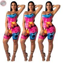 9053127 queenmoen Women casual print spaghetti strap short jumpsuit