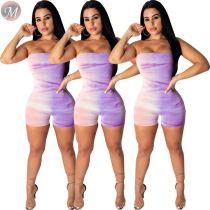 9053121 queenmoen Sexy digital print strapless bodycon women romper short jumpsuit