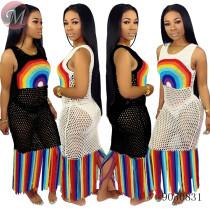 9050831 queenmoen Wholesale womenadies fashion dresses stripe long maxi boho casual dress