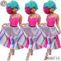 9050715 queenmoen wholesale women rainbow striped pleated skirt for summer