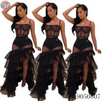 9050807 queenmoen Women sexy rhinestone mesh transparent slim maxi dress