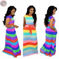 9052522 queenmoen hot sale lovely casual rainbow stripe maxi dress for ladies