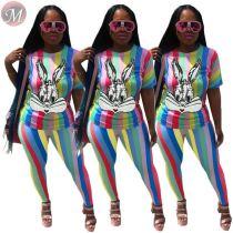 9052510 queenmoen women casual striped rabbit sequin t-shirt two piece set
