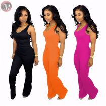 9060117 queenmoen women fashionable sleeveless pure color wide leg flared jumpsuit