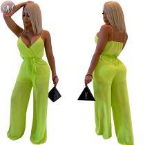 9060112 queenmoen Women summer pure color suspender casual club jumpsuit