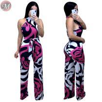 9060110 queenmoen Summer sleeveless print belt wide leg jumpsuit for ladies