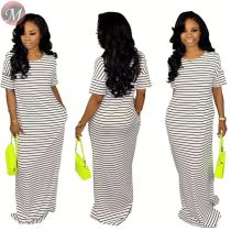 9061010 queenmoen hot sale 2019 women short sleeve long striped maxi dress