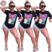 9060324 queenmoen wholesale cheap woman summer top cartoon stylish t-shirts