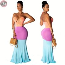 9061011 queenmoen Summer hot sale sexy opening breast color-block halter dress