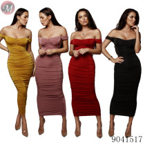 9041517 2019 Summer off shoulder pleated long bodycon dress party