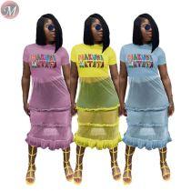 9060912 queenmoen wholesale clothing letter print summer woman casual t shirt mesh midi dress