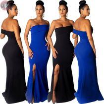 9060918 queenmoen new fashion summer slit off shoulder party wear evening woman long dress