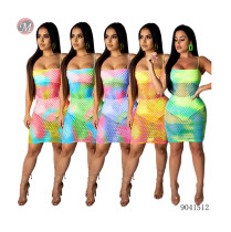 9041512 Women hot sale sexy print hollow-out bandage beach dress