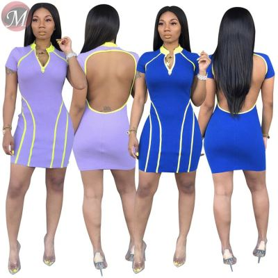 9061301 queenmoen wholesale new short sleeve woman summer wrap hip sexy backless mini dress with straps