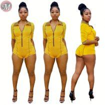 9061305 queenmoen new design summer zipper front lady sexy slim yellow shorts jumpsuit rompers