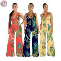 9062417 queenmoen fashion design halter v neck wide-leg woman summer opening back nice jumpsuit
