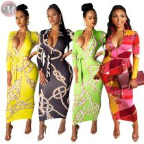 9062420 queenmoen women's new style v neck casual long sleeve clothing chain print maxi dress with belt