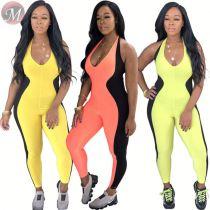 9062422 queenmoen 219 fashion woman clothing leisure sport bodycon maxi halter patchwork jumpsuit