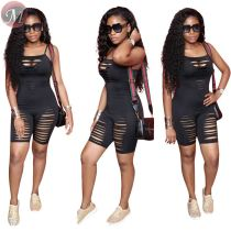 9061804 queenmoen women's solid color burnout cutting out black sexy jumpsuit for summer club wear