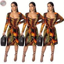 9061711 queenmoen hot sexy tank dress thin coat woman summer tropical floral print two piece set dress