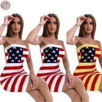 9061801 queenmoen strapless usa flag print casual summer bandage dress mini dress for woman summer