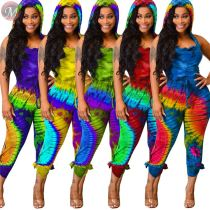 9070401 queenmoen 5 colors casual backless digital print summer woman wholesale hooded sleeveless jumpsuit