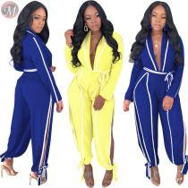9070428 queenmoen elegant solid belt long sleeve blouse fall deep v neck jumpsuit with side strap and slit