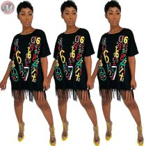 9070618 queenmoen wholesale short sleeve number print black woman loose casual tassel short mini dress