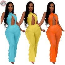 9070619 queenmoen sexy halter opening front fashion style wholesale woman mesh bodycon jumpsuit