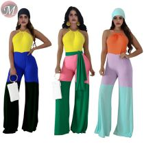 9071124 queenmoen fashion leisure strap halter woman wholesale casual color block patchwork jumpsuit