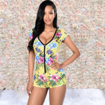 Q071908 Explosion models recommended deep v neck fashion trend urban casual women  printed jumpsuit
