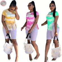 9071618 queenmoen new ladies fringe tassel casual short sleeve summer women t shirt