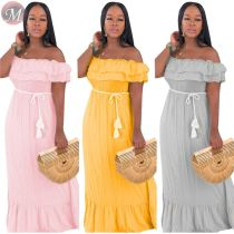 9071819 queenmoen solid color off shoulder summer casual spliced woman fashionable ruffle maxi dress