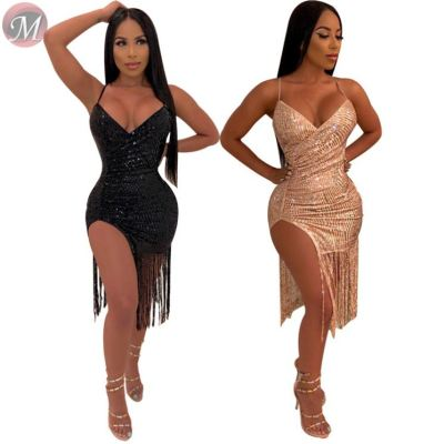 9071830 queenmoen hot selling summer nightclub woman suspender tassel sequin sexy bodycon mini dress