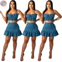 9071803 queenmoen summer latest design blue woman clothing two piece skirt and crop top set