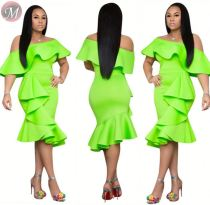 9071815 queenmoen hot sale off shoulder sold color ruffle woman summer fashion elegant green dress