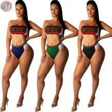 9071806 queenmoen fashionable basic style woman crop top swimwear sexy bandage bikini 2 piece