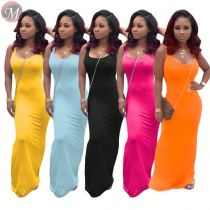 9071824 queenmoen wholesale solid color sleeveless tank top woman summer sexy casual long dress