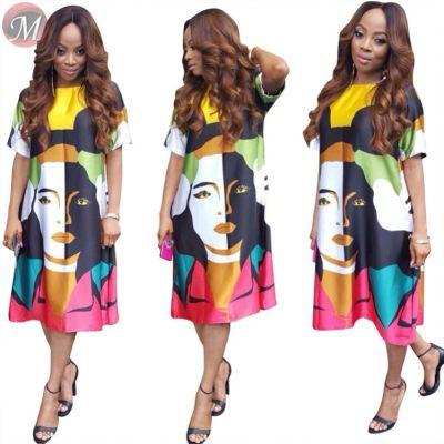 9071811 queenmoen summer loose casual short sleeve individual print lady woman fashion midi dress