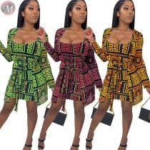 9072323 queenmoen hot selling woman long sleeve coat printed short dress casual two piece dress set