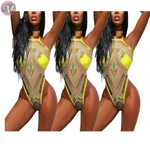 9071921 queenmoen newest hotsale sexy patchwork african print mesh swimsuit woman swimwear & beachwear