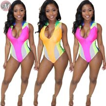 9071925 queenmoen hot selling color block patchwork summer woman one-piece sexy bikini swimwear