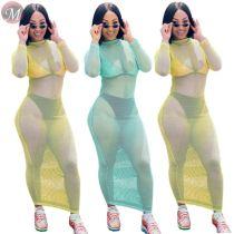 9072326 queenmoen new design hot sale woman long sleeve solid color club sexy fishnet maxi dress