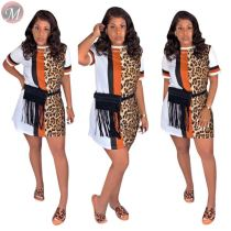 9072311 queenmoen casual fashionable summer woman tshirt short sleeve casual leopard print dress